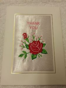 PERSONALISED EMBROIDERED THANK YOU CARD - Rose